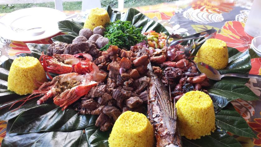Ivatan Food Platter (Turmeric rice, Lobsters, Coconut crabs, Flying fish, Squid, Uvud balls, Pako, Liempo, Beef Ribs)